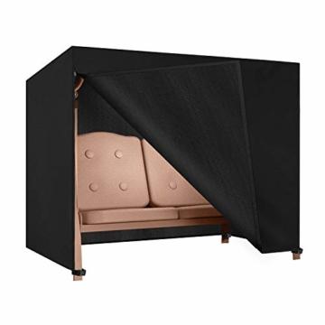 Dokon Hollywoodschaukel Abdeckung 3 Sitzer, Wasserdicht, Winddicht, UV-Beständiges, Schwerlast Reißfest 600D Oxford Gewebe Schutzhülle für Gartenschaukel (210x150x150cm) - Schwarz - 1