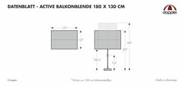 Doppler Active Balkonblende – Rechteckiger Sonnenschirm ideal für den Balkon –Plus Sichtschutz – 180x130 cm – Anthrazit - 4