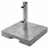 doppler Granit Sockel 25 kg – Hochwertiger Sonnenschirmständer mit Edelstahlrohr – Quadratisch – 45x45x5,5cm - 1