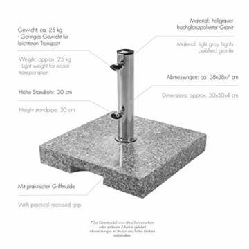 doppler Granit Sockel 25 kg – Hochwertiger Sonnenschirmständer mit Edelstahlrohr – Quadratisch – 45x45x5,5cm - 3