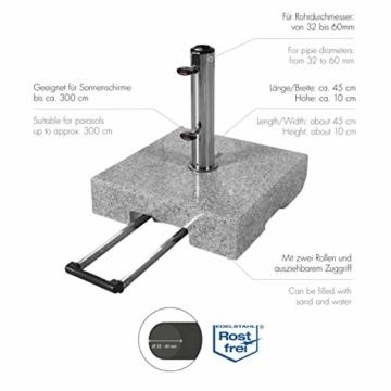 doppler Granit-Sonnenschirmständer mit Ausziehgriff 45kg – Hochwertiger Sockel mit Edelstahlrohr – Mit 2 Rollen und Zuggriff - 2
