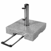 doppler Granit-Sonnenschirmständer mit Ausziehgriff 45kg – Hochwertiger Sockel mit Edelstahlrohr – Mit 2 Rollen und Zuggriff - 1