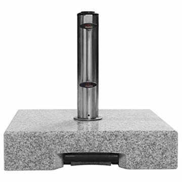 doppler Granit-Sonnenschirmständer mit Ausziehgriff 45kg – Hochwertiger Sockel mit Edelstahlrohr – Mit 2 Rollen und Zuggriff - 4