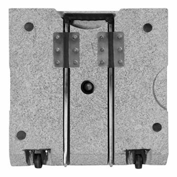 doppler Granit-Sonnenschirmständer mit Ausziehgriff 45kg – Hochwertiger Sockel mit Edelstahlrohr – Mit 2 Rollen und Zuggriff - 5
