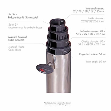 doppler Reduziereinsätze für Granit Sonnenschirmständer – Reduzierringe 5er Set – 52/48/38/32/25 mm - 2