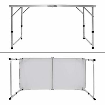 ECD Germany Campingtisch Set mit 4 Hocker - 120 x 60 x 55/63/70 cm höhenverstellbar - klappbar - Weiß/Creme - aus Aluminium und MDF - Campingmöbel Set Klappmöbel Klapptisch Falttisch - 3