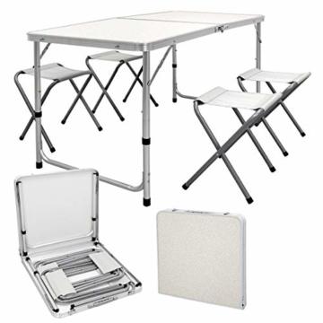 ECD Germany Campingtisch Set mit 4 Hocker - 120 x 60 x 55/63/70 cm höhenverstellbar - klappbar - Weiß/Creme - aus Aluminium und MDF - Campingmöbel Set Klappmöbel Klapptisch Falttisch - 1