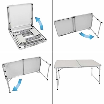 ECD Germany Campingtisch Set mit 4 Hocker - 120 x 60 x 55/63/70 cm höhenverstellbar - klappbar - Weiß/Creme - aus Aluminium und MDF - Campingmöbel Set Klappmöbel Klapptisch Falttisch - 5