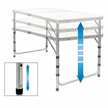 ECD Germany Campingtisch Set mit 4 Hocker - 120 x 60 x 55/63/70 cm höhenverstellbar - klappbar - Weiß/Creme - aus Aluminium und MDF - Campingmöbel Set Klappmöbel Klapptisch Falttisch - 7