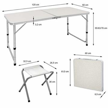 ECD Germany Campingtisch Set mit 4 Hocker - 120 x 60 x 55/63/70 cm höhenverstellbar - klappbar - Weiß/Creme - aus Aluminium und MDF - Campingmöbel Set Klappmöbel Klapptisch Falttisch - 8