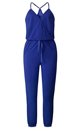 ECOWISH Damen Jumpsuit Lang V Ausschnitt Overall Sommer Ärmellos Hosenanzug Träger Playsuit Romper Blau S - 3