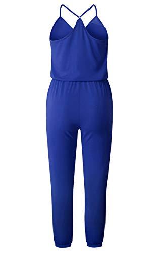 ECOWISH Damen Jumpsuit Lang V Ausschnitt Overall Sommer Ärmellos Hosenanzug Träger Playsuit Romper Blau S - 5