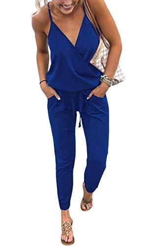 ECOWISH Damen Jumpsuit Lang V Ausschnitt Overall Sommer Ärmellos Hosenanzug Träger Playsuit Romper Blau S - 1