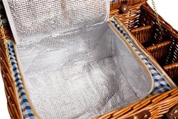 eGenuss LY12041BLU Handgefertigtes Picknickkorb für 4 Personen - Inklusive Edelstahlbesteck, Kühlfach, Weingläser und Keramikteller – Blaues Gingham-Muster 47x34x20 cm - 2