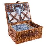 eGenuss LY12041BLU Handgefertigtes Picknickkorb für 4 Personen - Inklusive Edelstahlbesteck, Kühlfach, Weingläser und Keramikteller – Blaues Gingham-Muster 47x34x20 cm - 1