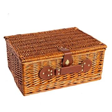 eGenuss LY12041BLU Handgefertigtes Picknickkorb für 4 Personen - Inklusive Edelstahlbesteck, Kühlfach, Weingläser und Keramikteller – Blaues Gingham-Muster 47x34x20 cm - 4