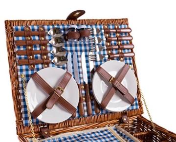 eGenuss LY12041BLU Handgefertigtes Picknickkorb für 4 Personen - Inklusive Edelstahlbesteck, Kühlfach, Weingläser und Keramikteller – Blaues Gingham-Muster 47x34x20 cm - 5