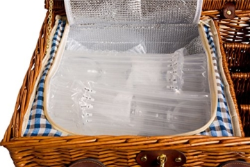 eGenuss LY12041BLU Handgefertigtes Picknickkorb für 4 Personen - Inklusive Edelstahlbesteck, Kühlfach, Weingläser und Keramikteller – Blaues Gingham-Muster 47x34x20 cm - 6