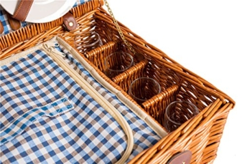eGenuss LY12041BLU Handgefertigtes Picknickkorb für 4 Personen - Inklusive Edelstahlbesteck, Kühlfach, Weingläser und Keramikteller – Blaues Gingham-Muster 47x34x20 cm - 7