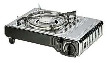 Enders® Campingkocher NELSON 1880 Leistung 2,2 kW, Kartuschenkocher, inkl. Tragekoffer, für Ventil-Gaskartusche, Überdruck-Sicherheitsabschaltung, Silber - 1