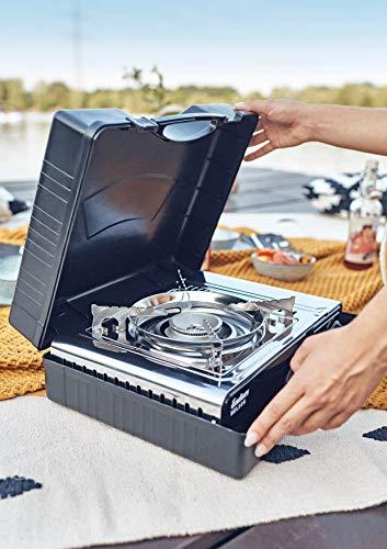 Enders® Campingkocher NELSON 1880 Leistung 2,2 kW, Kartuschenkocher, inkl. Tragekoffer, für Ventil-Gaskartusche, Überdruck-Sicherheitsabschaltung, Silber - 5