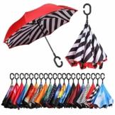 Eono by Amazon - Inverted Stockschirme, Winddicht Regenschirm, Reverse Stockschirme mit C Griff, Selbst Stehend, Double Layer, Schützen vor Sturm Wind, Regen und UV-Strahlung, Streifen - 1