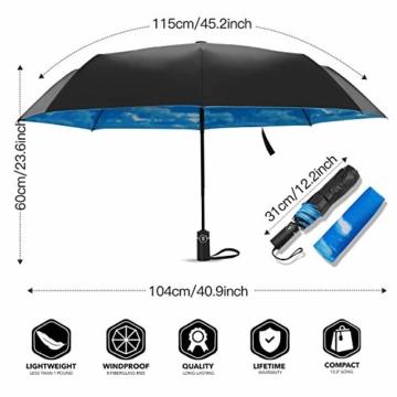 Eono by Amazon - Regenschirm Taschenschirm Kompakter Falt-Regenschirm, Winddichter, Auf-Zu-Automatik, Teflonbeschichtung, Verstärktes Dach, Ergonomischer Griff, Schirm-Tasche, Himmel - 2