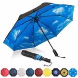 Eono by Amazon - Regenschirm Taschenschirm Kompakter Falt-Regenschirm, Winddichter, Auf-Zu-Automatik, Teflonbeschichtung, Verstärktes Dach, Ergonomischer Griff, Schirm-Tasche, Himmel - 1