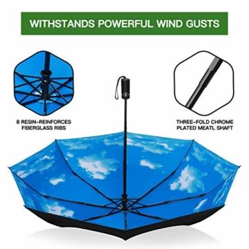 Eono by Amazon - Regenschirm Taschenschirm Kompakter Falt-Regenschirm, Winddichter, Auf-Zu-Automatik, Teflonbeschichtung, Verstärktes Dach, Ergonomischer Griff, Schirm-Tasche, Himmel - 4