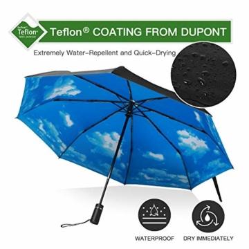 Eono by Amazon - Regenschirm Taschenschirm Kompakter Falt-Regenschirm, Winddichter, Auf-Zu-Automatik, Teflonbeschichtung, Verstärktes Dach, Ergonomischer Griff, Schirm-Tasche, Himmel - 6