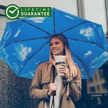 Eono by Amazon - Regenschirm Taschenschirm Kompakter Falt-Regenschirm, Winddichter, Auf-Zu-Automatik, Teflonbeschichtung, Verstärktes Dach, Ergonomischer Griff, Schirm-Tasche, Himmel - 7
