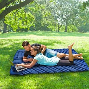 FOCHEA Isomatte Camping, Selbstaufblasbare Isomatte Handpresse Aufblasbare Luftmatratze Schlafmatte für Camping, Reise, Outdoor, Wandern, Strand (Blau) - 6