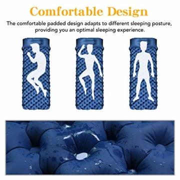 FOCHEA Isomatte Camping, Selbstaufblasbare Isomatte Handpresse Aufblasbare Luftmatratze Schlafmatte für Camping, Reise, Outdoor, Wandern, Strand (Blau) - 7