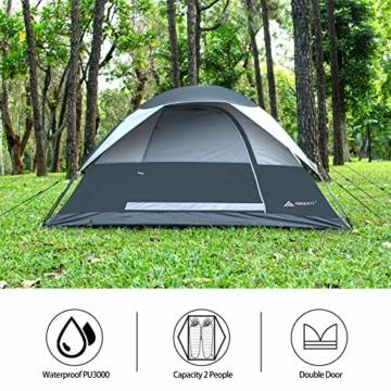 Forceatt Campingzelt für 2 Personen mit Doppeltüren, wasserdicht und Winddicht, Rucksack, belüftet und für Outdoor- und Wandertouren geeignet - 2