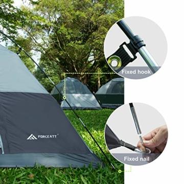 Forceatt Campingzelt für 2 Personen mit Doppeltüren, wasserdicht und Winddicht, Rucksack, belüftet und für Outdoor- und Wandertouren geeignet - 3