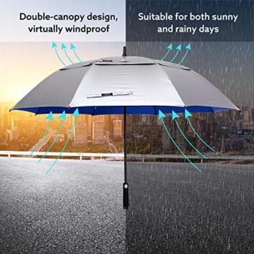 G4Free 62/68 Inch UV-Schutz Winddicht Sonnen- und Regenschirm Golfschirm Autorisches Öffnen Doppelbaldachin Belüftet Übergröße für Herren und Damen - 5