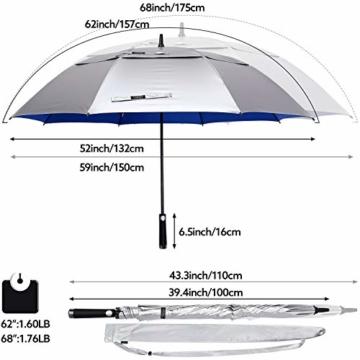 G4Free 62/68 Inch UV-Schutz Winddicht Sonnen- und Regenschirm Golfschirm Autorisches Öffnen Doppelbaldachin Belüftet Übergröße für Herren und Damen - 7