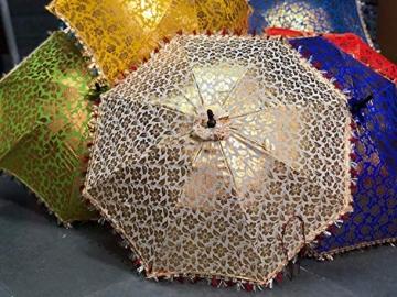 GANESHAM Indischer Hochzeits-Dekorativer Designer-Regenschirm, modisch, mehrfarbig, Strandschirm, UV-Schutz, Sonnenschirm, Stickerei, Outdoor, Boho-Sonnenschirm, handgefertigt (10 Stück) - 2