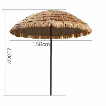 Gartenschirm Sonnenschirm Hawaii Sonnenschutz Ø 150 cm Höhenverstellbar Terrassenschirm Strandschirm strohschirm Pavillon Reise Deck Camping - 4
