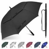 Gonex Sturmfest Golf Regenschirm 62 Zoll Groß XXL, UV-Schutz, Automatischer Offener Regenschirm mit Winddichtem, Wasserabweisendem Doppelverdeck, Eva-Griff,für 2-7 Männer, Schwarz - 1