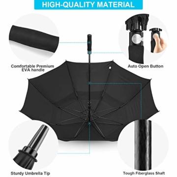Gonex Sturmfest Golf Regenschirm 62 Zoll Groß XXL, UV-Schutz, Automatischer Offener Regenschirm mit Winddichtem, Wasserabweisendem Doppelverdeck, Eva-Griff,für 2-7 Männer, Schwarz - 4