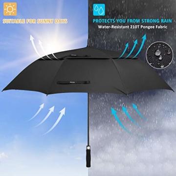 Gonex Sturmfest Golf Regenschirm 62 Zoll Groß XXL, UV-Schutz, Automatischer Offener Regenschirm mit Winddichtem, Wasserabweisendem Doppelverdeck, Eva-Griff,für 2-7 Männer, Schwarz - 6