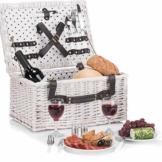 GOODS+GADGETS Weidenkorb Picknickkorb aus Weide mit Picknick Geschirr, Besteck, Gläsern, Korkenzieher (Picknickkorb - 2 Personen) - 1