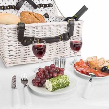 GOODS+GADGETS Weidenkorb Picknickkorb aus Weide mit Picknick Geschirr, Besteck, Gläsern, Korkenzieher (Picknickkorb - 2 Personen) - 3