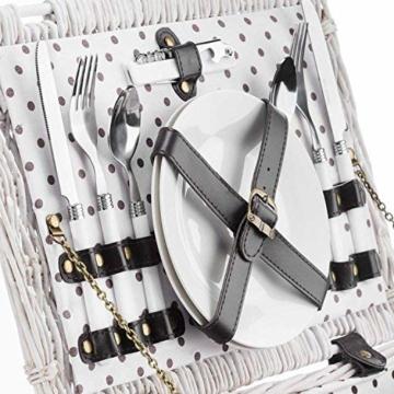 GOODS+GADGETS Weidenkorb Picknickkorb aus Weide mit Picknick Geschirr, Besteck, Gläsern, Korkenzieher (Picknickkorb - 2 Personen) - 4