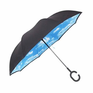 Hellery Reverse Regenschirm mit C-Griff, Umgedrehter Golfschirm, Stockschirm, Autofahrerschirm, Double Layer Inverted Umbrella - Blauer Himmel Weiße Wolke - 2