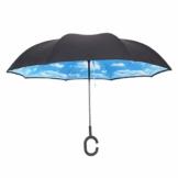 Hellery Reverse Regenschirm mit C-Griff, Umgedrehter Golfschirm, Stockschirm, Autofahrerschirm, Double Layer Inverted Umbrella - Blauer Himmel Weiße Wolke - 1