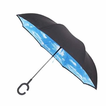 Hellery Reverse Regenschirm mit C-Griff, Umgedrehter Golfschirm, Stockschirm, Autofahrerschirm, Double Layer Inverted Umbrella - Blauer Himmel Weiße Wolke - 3