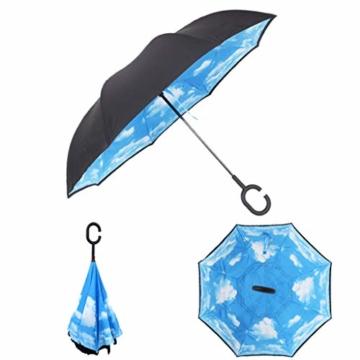Hellery Reverse Regenschirm mit C-Griff, Umgedrehter Golfschirm, Stockschirm, Autofahrerschirm, Double Layer Inverted Umbrella - Blauer Himmel Weiße Wolke - 5