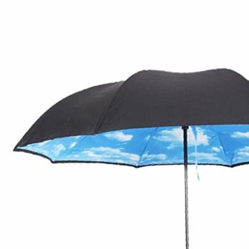 Hellery Reverse Regenschirm mit C-Griff, Umgedrehter Golfschirm, Stockschirm, Autofahrerschirm, Double Layer Inverted Umbrella - Blauer Himmel Weiße Wolke - 6